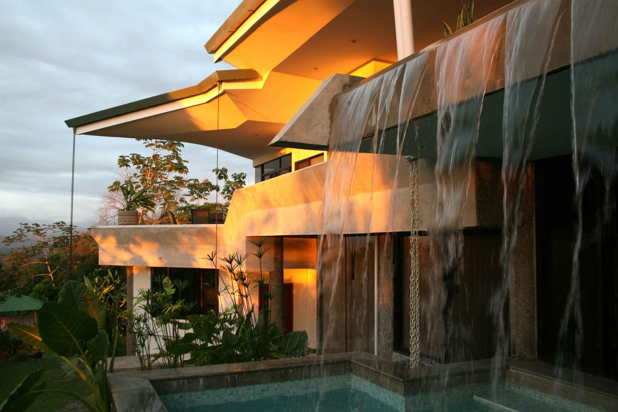 Casa de las Cascadas, Manuel Antonio, Costa Rica The waterfall at sunset.