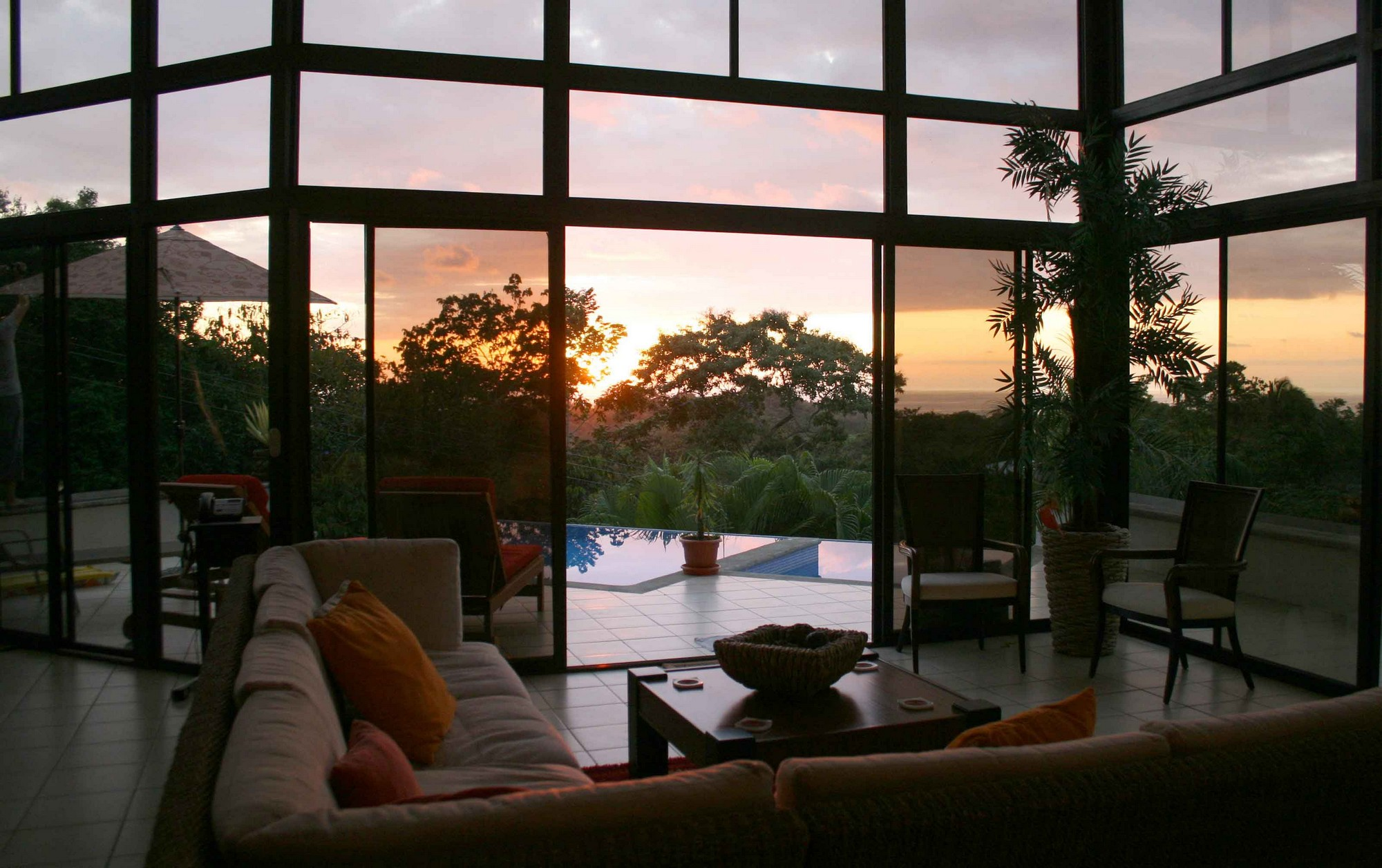 Casa de las Cascadas, Manuel Antonio, Costa Rica Living area at sunset.