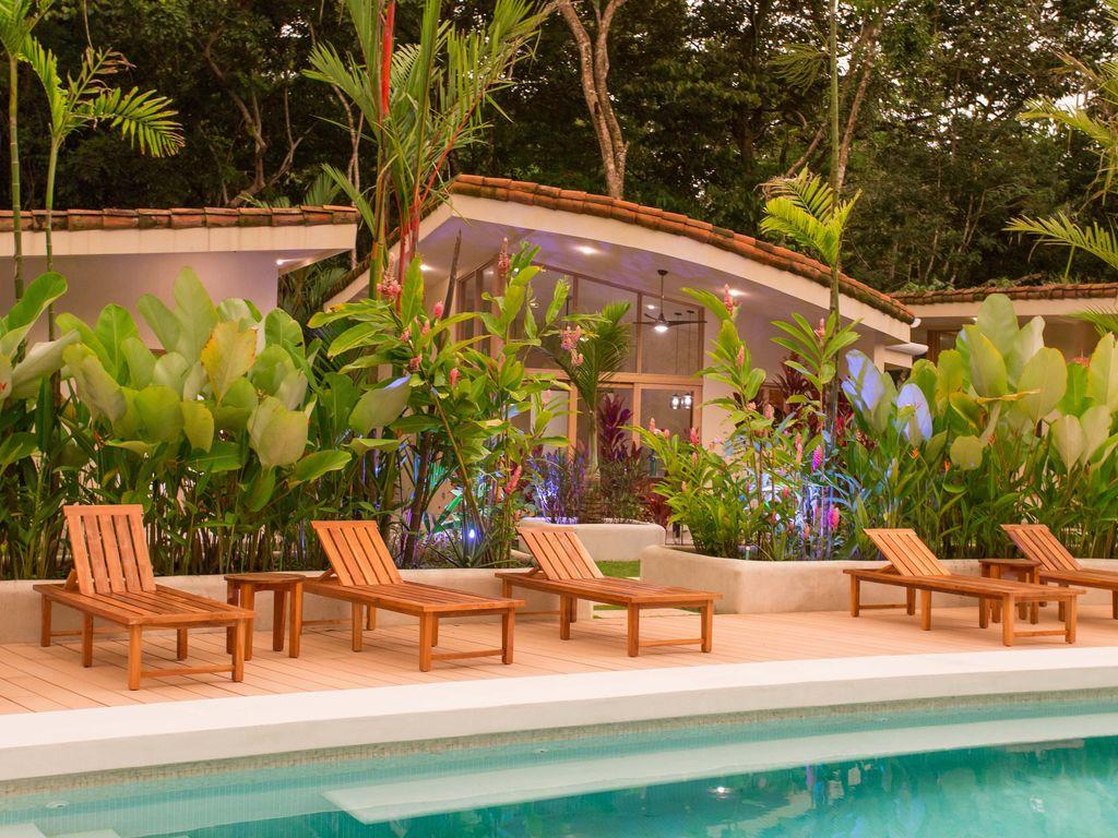 Poolside lounge chairs Rio Mono Condos Manuel Antonio Costa Rica