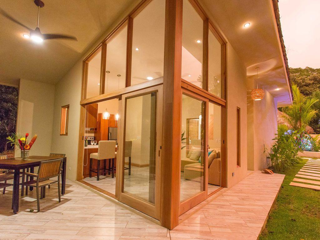 Covered terrace and interior living room Rio Mono Condos Manuel Antonio Costa Rica